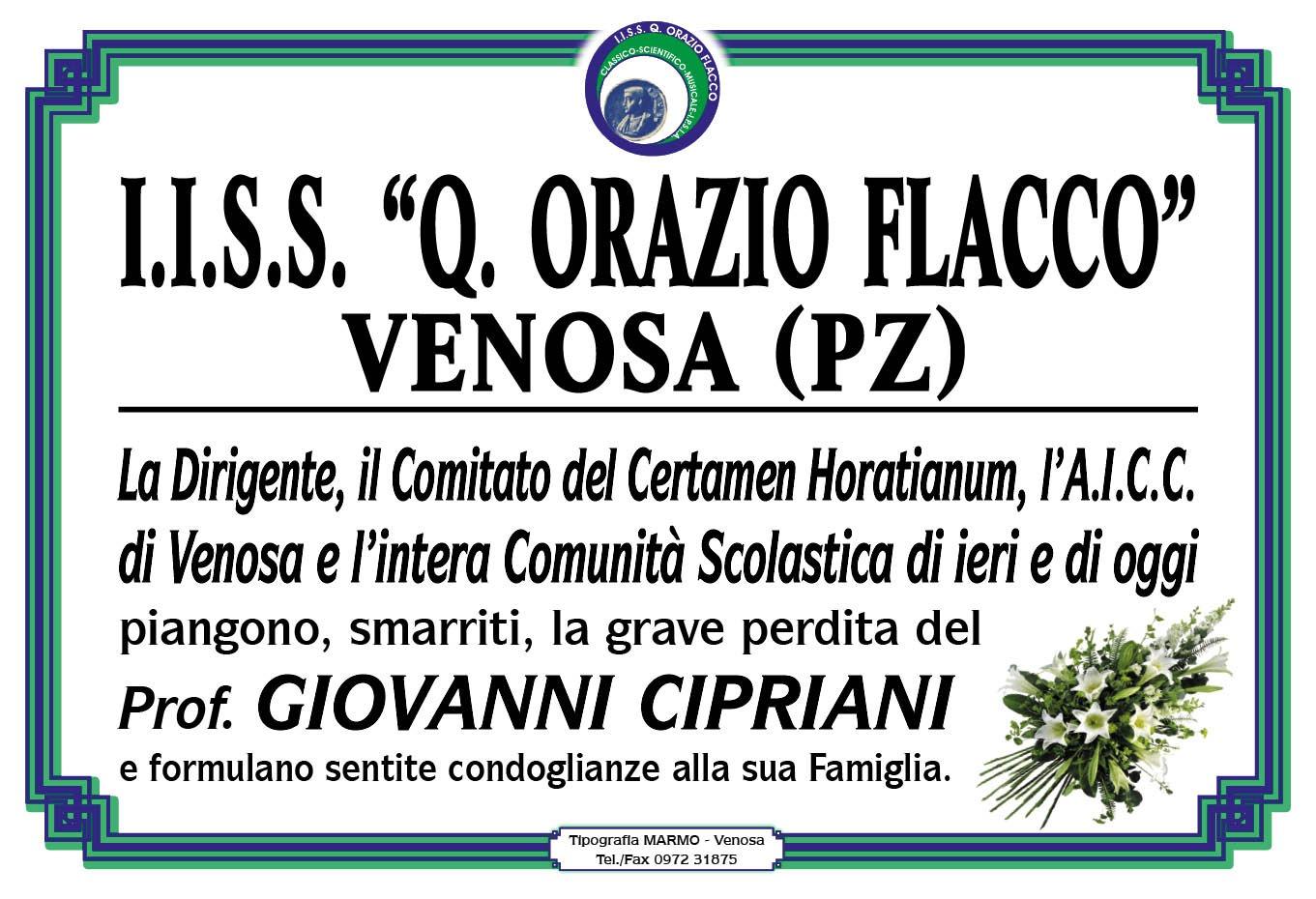Prof. Cipriani è scomparso... Un uomo di Cultura che ha fatto la storia del Certamen Horatianum...